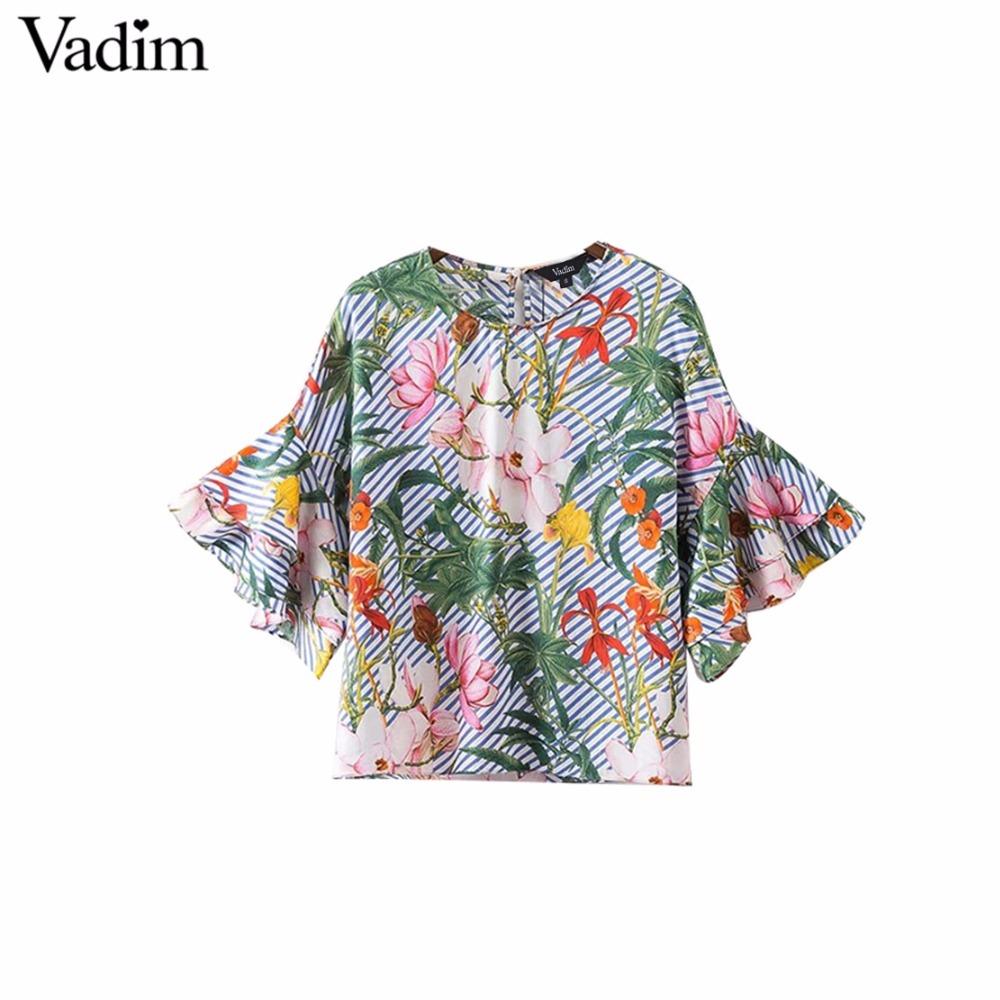 HTB1DUc RVXXXXcxXXXXq6xXFXXX0 - Women sweet ruffles loose floral shirts short sleeve