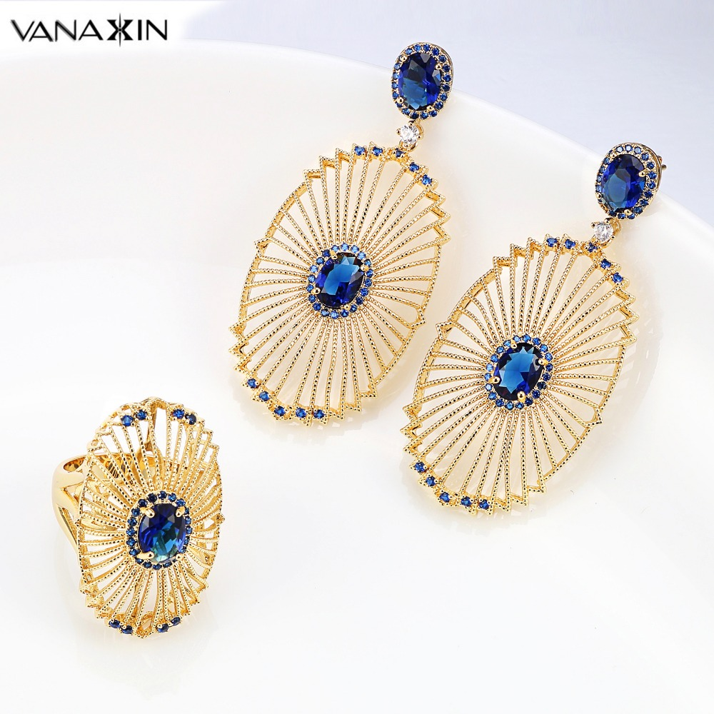 VANAXIN ensemble de bijoux bleu pour femmes filles Zircon autriche Crystral ovale Rose/or/blanc couleur laiton boucle d'oreille et bague bijoux cadeau
