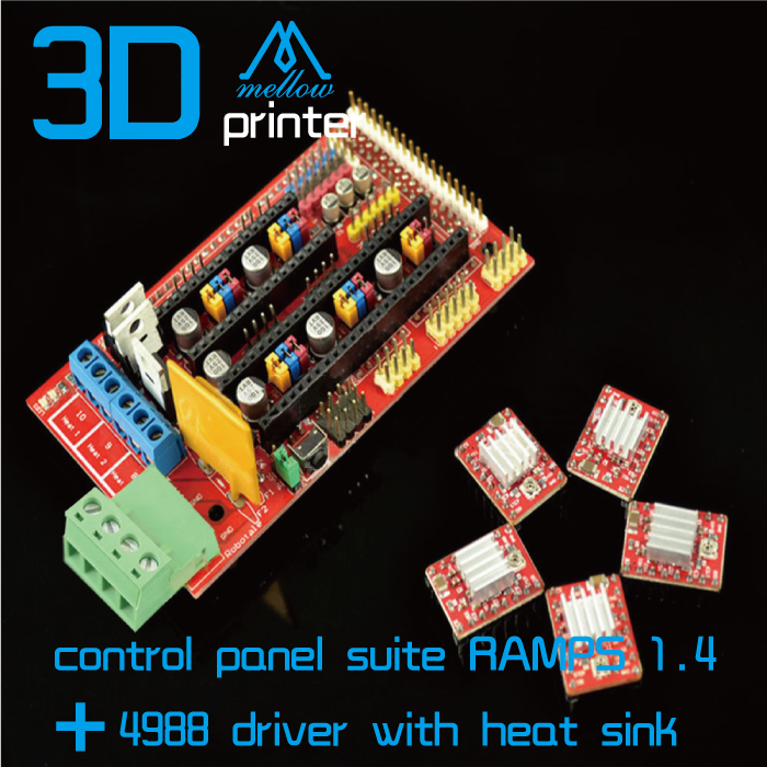 Free shipping 3D printer control panel suite RAMPS 1.4 + 4988 driver with heat sink hot sale