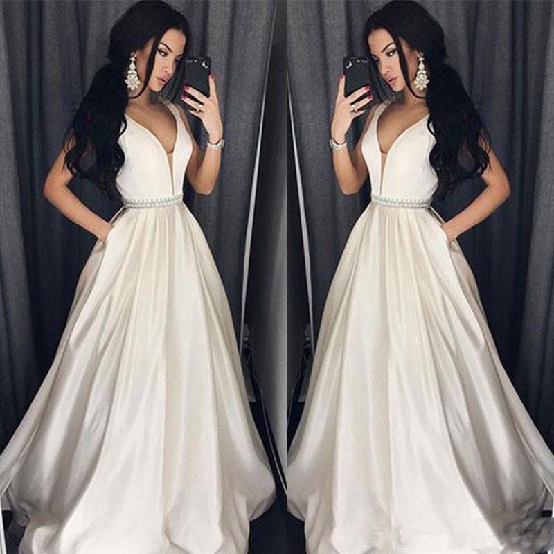 Verngo Ivory Satin   Evening     Dress   2019 Elegant Formal   Dress   Party Gown Abiti Da Cerimonia Da Sera