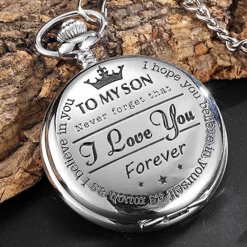 """Cadeau des Parents à mon fils """"je t'aime"""" montre de poche à Quartz collier Vintage chaîne Fob horloge pendentif pour garçon Sons argent noir"""