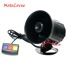 MotoLovee Motorcycle Car Security Horn 12V 3 Sounds Van Vehicle Loud Siren For Cars Motorbike Moped Truck Construction Vehicles