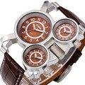 HOT OULM 3 Exibição de Tempo Relógio Do Esporte Do Exército Militar para Os Homens Marca de luxo de quartzo-relógio com Pulseira de Couro Ocasional Relógio DZ 1167 + BOX