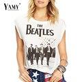 2017 verão new mulheres moda casual letras impressas dos Beatles do punk t-shirt de algodão camiseta tops para as mulheres clothing além tamanho