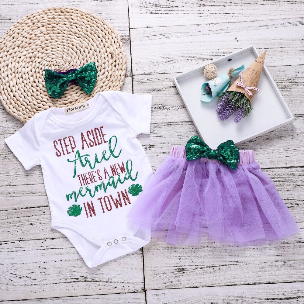 On Sale Baby Clothes Set Baby Costume Girls Outfits Bodysuit + Mini Skirt 1St Birthday Mermaid Baby Girl Bows Newborn Clothes