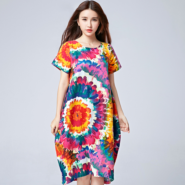 63d65a3f539 National Style Womens Holiday Dress Ladies Floral Printed Elegant Party  Dresses 2017 Bohemian Summer Beach Dress Female