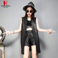 Womens genuine Leather Black Vest Designer Jackets Best Cheap Sheepskin Clothing Street Lightweight Fashion Hood Female Vest