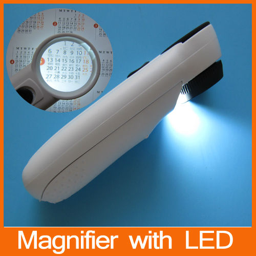 Free Express Ship M3715 Hand Hold Magnifier with 2 LED Light / Exclamation Mark Type
