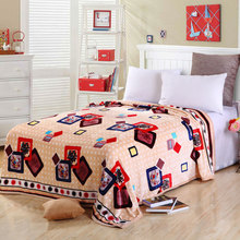Factory Sale Polyester Winter Printed Blanket Flannel Coral Fleece Fabric on Sofa Bed Travel Cover Blanket Adult Striped Blanket