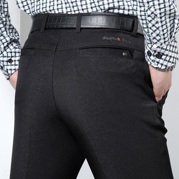 Autumn Suit Pants Men loose straight Dress Pants Social thick Pants Black Formal Business Male Wedding Dress Casual Trousers