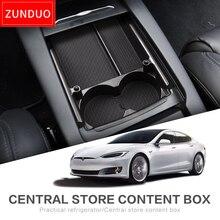ZUNDUO Auto box bracciolo centrale Per Tesla MODELLO X MODELLO S Accessori Interni Stivaggio Riordino Center Console Organizzatore