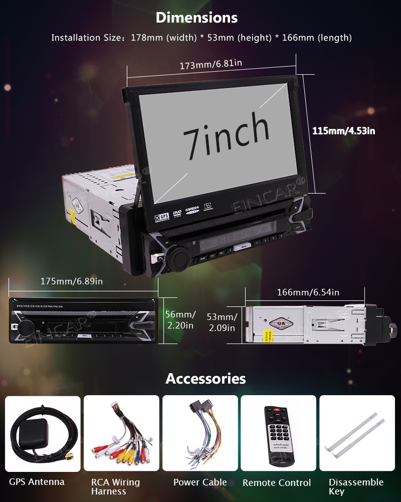 Perfect Capacitive Touch Screen Wince System Single 1 Din Car Stereo DVD Player Support GPS Navigation/USB/SD/Cam-in/Bluetooth/Steering 7