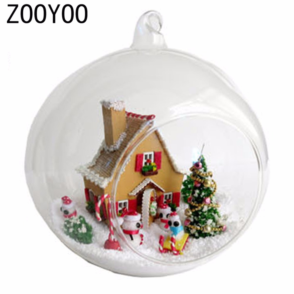 Miniature crystal ornaments - Zooyoo Diy Wooden Dollhouse Miniature Tree Snowman Voice Control Led Light Crystal Glass Ball Kids Toy