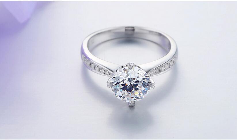 Argent pur 1.5 Carat haute teneur en carbone Diamant synthétique anniversaire mariage argent S925 bagues (JSA) - 5