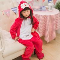 Fashion Kids Children Unisex Red Fox Animal Onesie Pajamas Flannel Autumn Winter Sleepwear Costume Cartoon Hooded