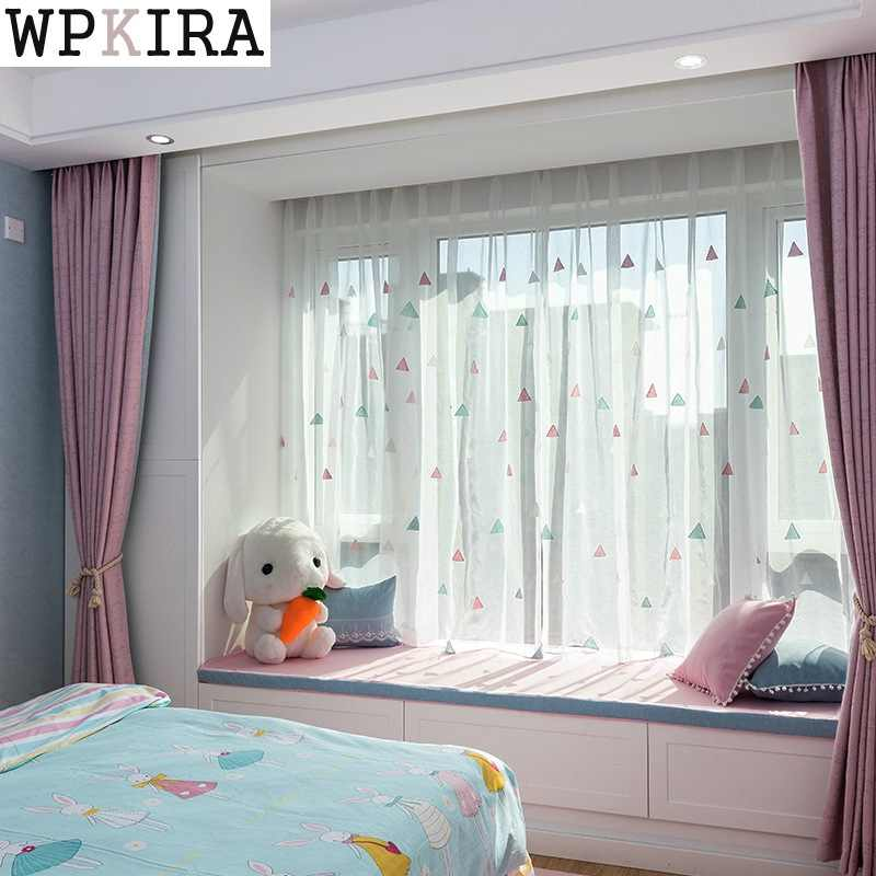 Modern Embroidered curtain Living Room Balcony Kitchen Curtains Tulle Pink Sheer Fabrics Cortinas S038&30
