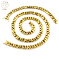 Neck Heavy Chain For Men Big Chunky Necklaces Male Gold Color Hiphop Stainless Steel Cuban Chain