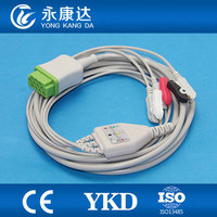 One piece 11Pin 3leads ECG cable and leadwires with clip for GE medical,AHA,,CE&ISO13485