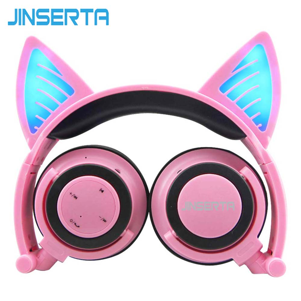 JINSERTA Pink Bluetooth Wireless Cat Ear Headphones Folded Headband earphone with LED cosplay Headset For Mobile Phone PC Laptop magift bluetooth headphones wireless wired headset with microphone for sports mobile phone laptop free russia local delivery hot
