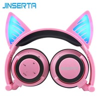 JINSERTA Pink Bluetooth Wireless Cat Ear Headphones Folded Headband earphone with LED cosplay Headset For Mobile Phone PC Laptop