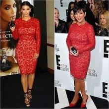 Roter Teppich-Berühmtheit Kleid Kim Kardashian knielangen Cocktailkleider Lace Long Sleeves Abschlussball-Partei-Kleid Nach Maß