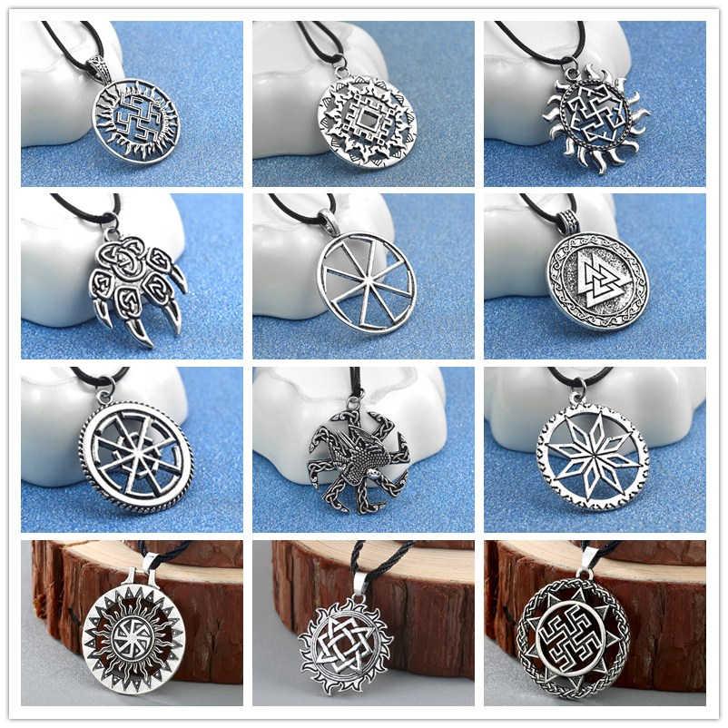Anak Sun Sloar Kolovrat Slavia Amulet Liontin Kalung Tali Rantai Viking Perhiasan Unik untuk Pacar Hadiah