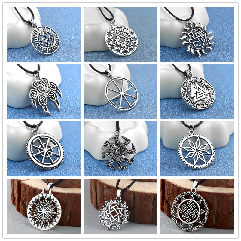 Son of <font><b>Sun</b></font> Sloar Kolovrat Slavic Amulet Pendant Necklace Rope Chain Viking Statement <font><b>Jewelry</b></font> For Boyfriend Gifts image