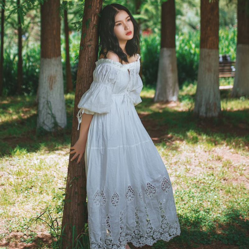 2019 New Ladies Dress Vintage Princess Nightgowns Goddess Long Dress White Cotton Sleepwear For Women Pyjama Free Shipping