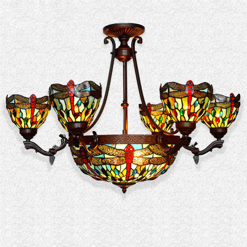 Tiffany Suspension Lamp European Style Classic Dragonfly Home Decor Art Stained Glass Beads Living Room Restaurant Pendant Light 16inch antique agate jade dragonfly stained glass lampshade tiffany pendant lamp country style bedside lamp e27 110 240v