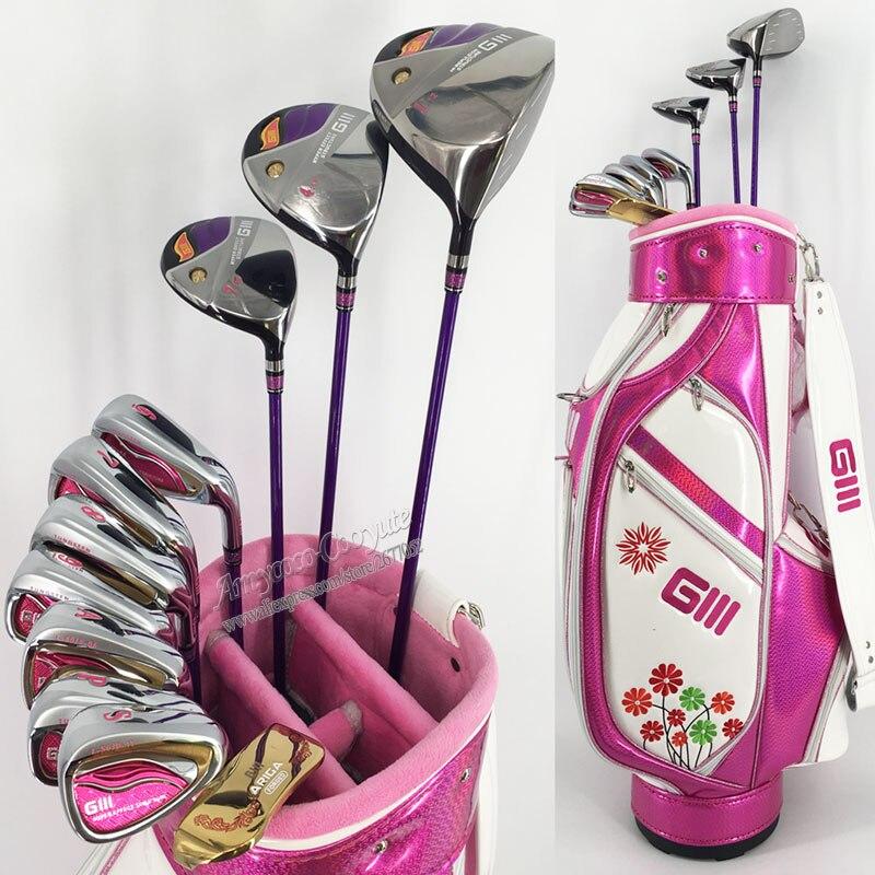 New Golf clubs GIII Women complete clubs set Driver.irons.Fairway wood plus Clubs Bag Golf Set Graphite Golf shaft Free shipping цена