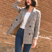 Vintage Notched Bouble Breasted Plaid Women Blazer Thicken A