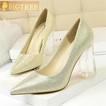 2018 Women Block 10CM High Heels Lady Scarpins Green Satin Pumps Female  Wedding Gold Blue Silk Transparent Shoes Plus Size 43 29627fb36058