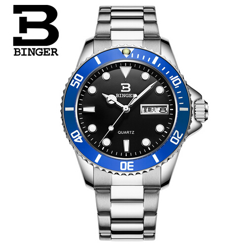 Original Binger Men Quartz Watch Luminous Famous Brand Man Business Watch Waterproof Watches Clock Stainless Steel Wristwatches hsp rc model car spare part 02023 clutch bell double gears 16t 21t rc 1 10th 4wd truck buggy destrier backwash