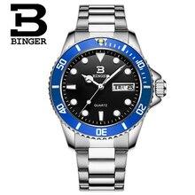 Оригинал Binger Мужчины Кварцевые Часы Световой Известный Бренд Деловой Человек Часы Водонепроницаемые Часы Часы Из Нержавеющей Стали Наручные Часы