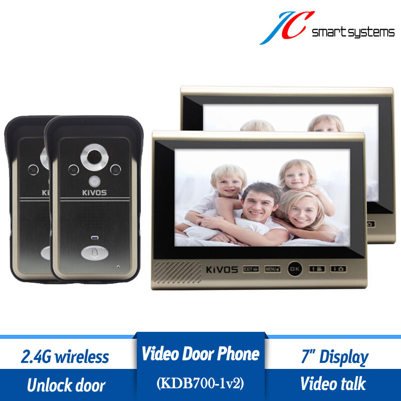 Kivos KDB700 2v2 video porteiro cep telefonu wireless door camera video doorbell door phone with 2 monitors and 2 cameras