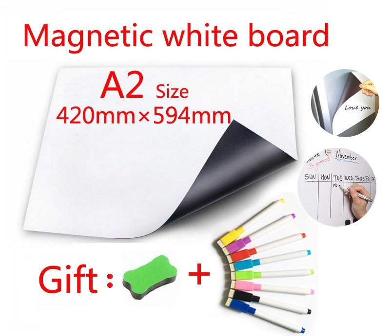 A2 Size Magnetic Whiteboard Message Board Memorandum Presentation Boards Fridge Sticker Soft Dry Erase White Board 420mmX594mm