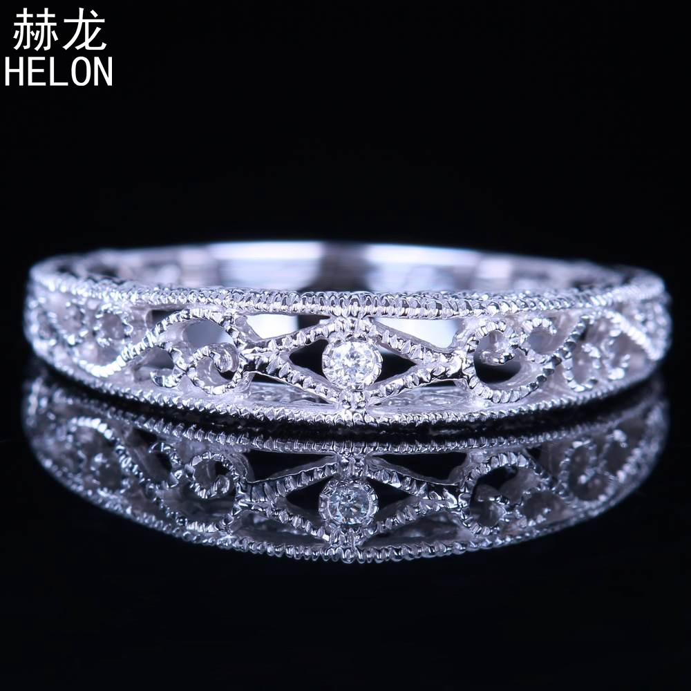 Sterling Silver 925 Round Cut SI/H 100% Genuine Natural Diamonds Art Deco Antique Vintage Engagement Wedding Fine Jewelry Ring