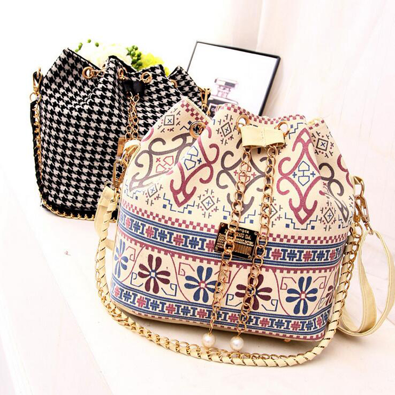 Canvas Drawstring Bucket Bag 2016 Chains Shoulder Handbags Women's Vintage Messenger Bags Bolsa Feminina Bolsos