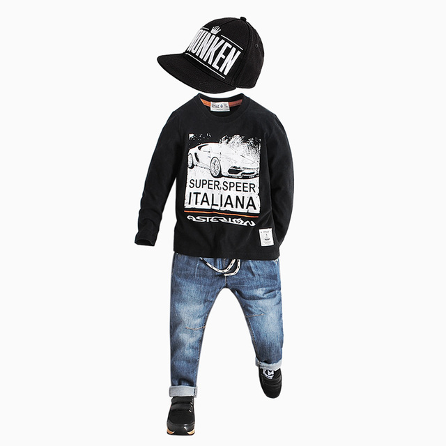 The boy's T-shirt in the spring of 2017 new children backing t-shirt t-shirt bottoming shirt baby