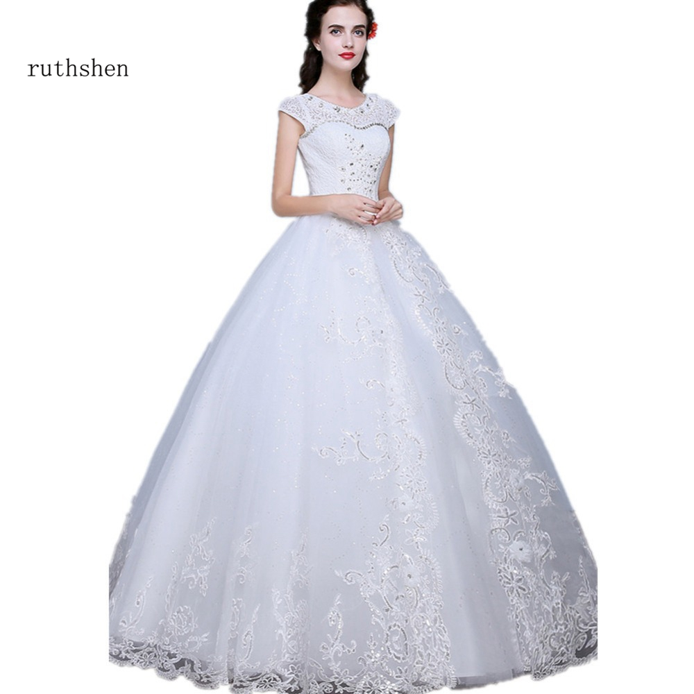 Wedding Gowns With Cap Sleeves: Ruthshen Vintage Wedding Dresses 2018 Cap Sleeves Bling