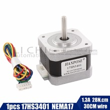 free shipping 1PCS 17HS3401 4-lead Nema 17 Stepper Motor 42 motor 42BYGH 1.3A CE ROSH ISO CNC Laser and 3D printer