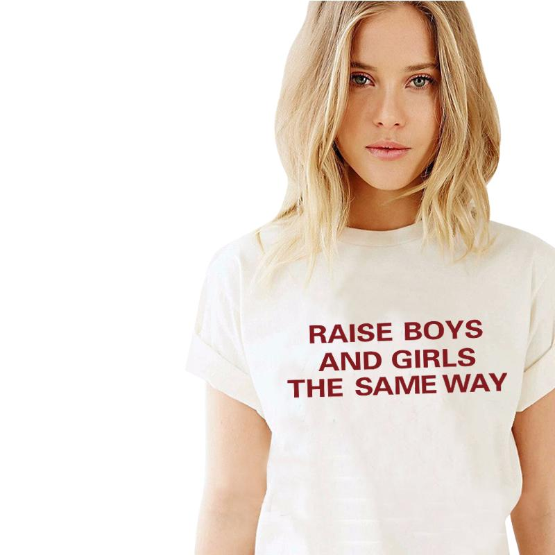 HTB1DUfcKVXXXXaYXXXXq6xXFXXXd - New Letters Print Raise Boys And Girls The Same Way T-Shirts Tees