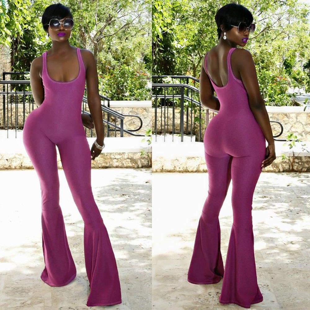 Effortless 2018 Summer New Women Sexy Jumpsuits U Neck Sleeveless Backless Long Flare Pants Chic Solid Purple Playsuits Overalls