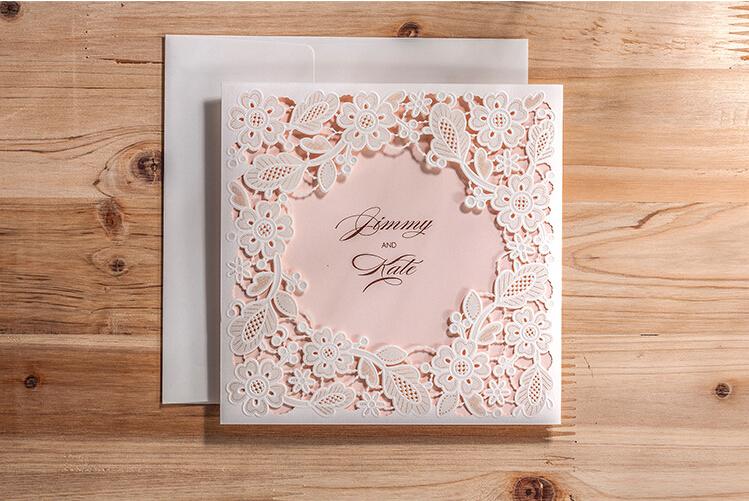 de boda del corte del laser de tarjetas hollow de boda
