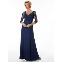 Elegant Mother of the Bride font b Dresses b font Three Quarter Sleeves A line V