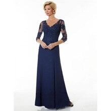 Elegante Mutter der Braut Kleider Dreiviertel Sleeves Eine linie V-ausschnitt Spitze Formales Brautkleid Abendkleid Bräutigam kleid