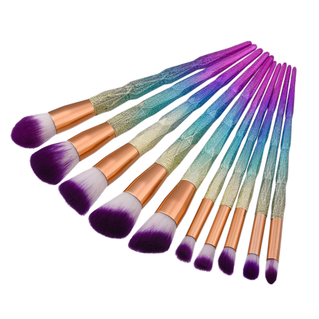 Professional Makeup Brush Set Thread Rainbow Handl Make up Brushes Cosmetics Blush Powder Blending Smooth Diamond Brush