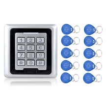 125KHZ Metallic Entry Controller Keypad System With Door Bell Button RFID Waterproof Door Lock Ok86 Silver+10 TK4100 Keychains/fobs