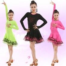 Professional Girls Ballroom Dance Costumes Long Sleeve Latin Dance Costumes Dance Children's Salsa Tango Rumba Cha Cha Costume