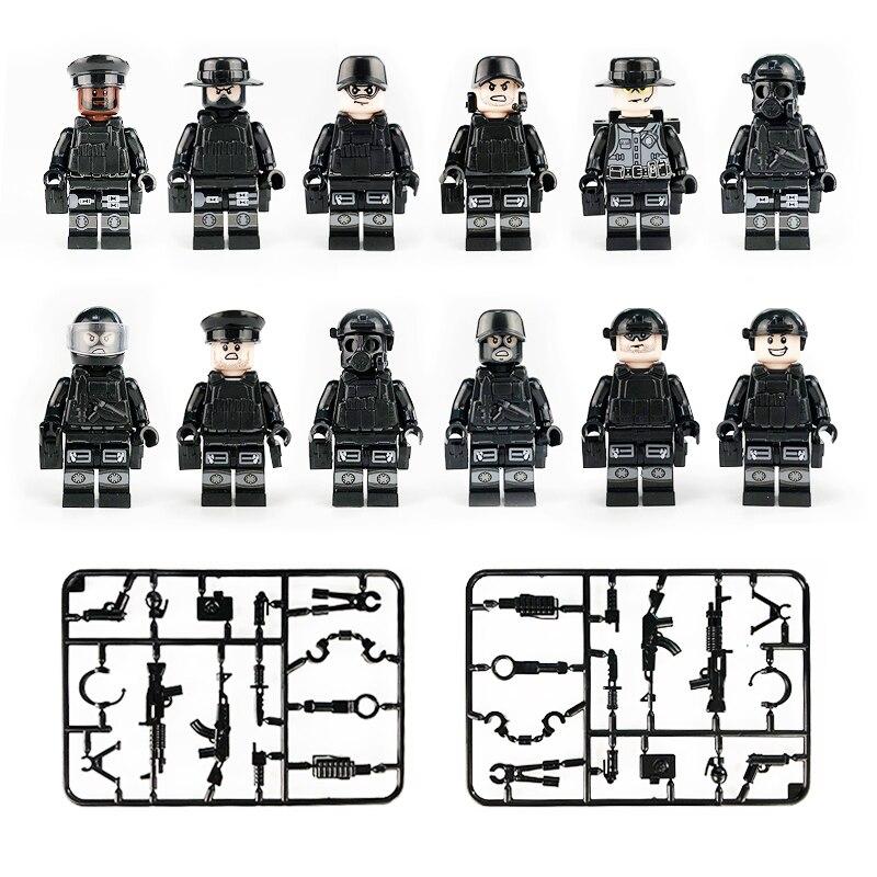 где купить 12pcs/lot Action Figures Building Blocks Brick DIY Compatible Legoed Figures Police City Military Cartoon For Gift To Children по лучшей цене